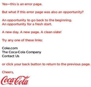 Erreur 404 page Coca Cola