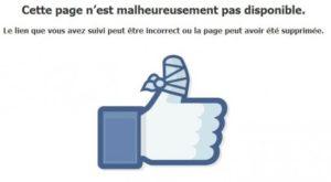 Erreur 404 page facebook