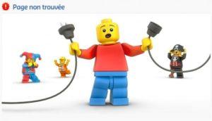 Erreur 404 page Lego