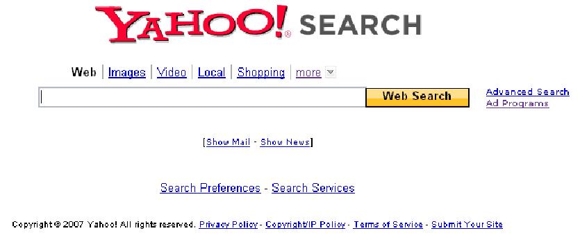 Page d′accueil du moteur de recherche Yahoo !