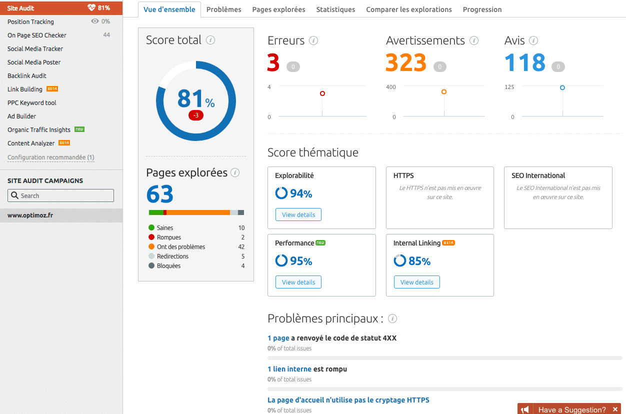 Audit de site technique selon SEMrush