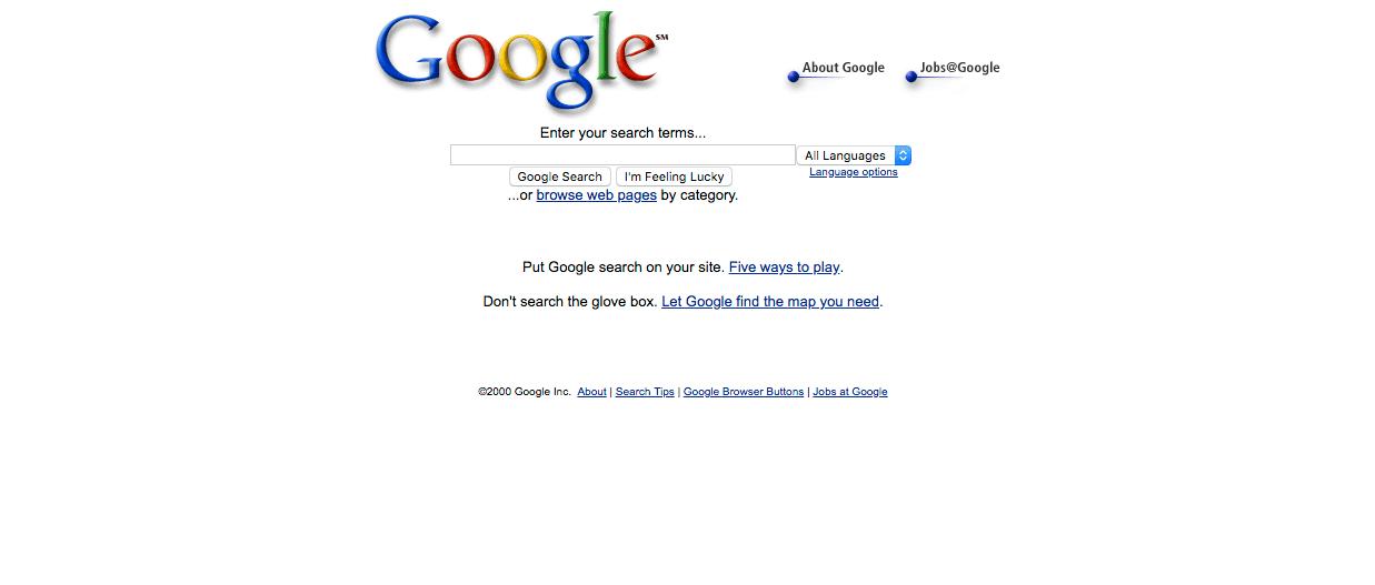 Page d′accueil de Google en 2000