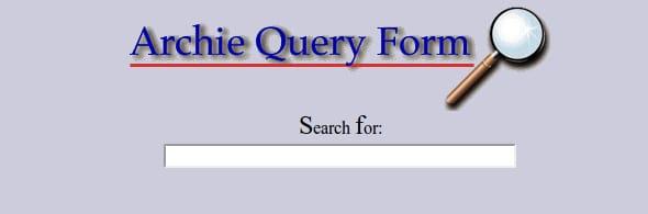 Page d′accueil du moteur de recherche Archie
