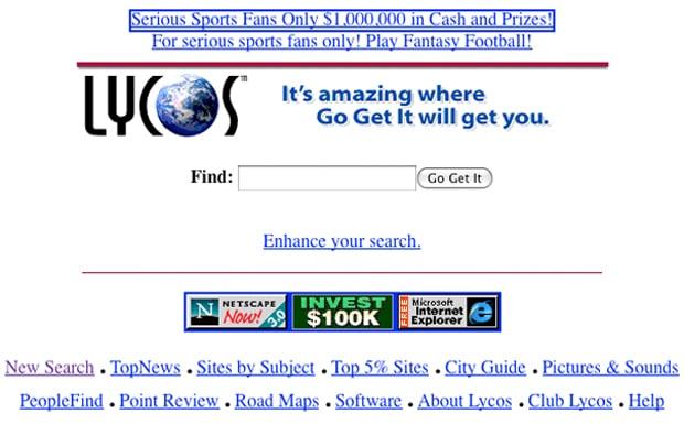 Page d′accueil du moteur de recherche Lycos